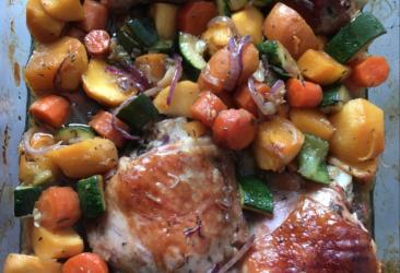 Recette light Estelle Coach sport santé : dinde au four et légumes rôtis
